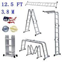 12.5FT Multi Purpose Step Platform Extension Folding Scaffold Telescopic Ladder