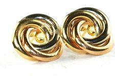 ITALIAN 18K TRI COLOR GOLD LOVE KNOT EARRINGS WHITE ROSE YELLOW