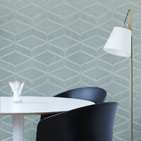 Teal green gold metallic faux fabric textured geometric wave lines Wallpaper 3D