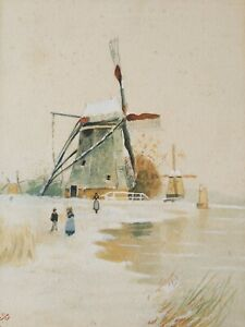 Late 19thC (1899) Dutch Windmills with Figures Watercolour