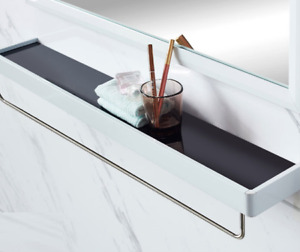 Bathroom Shower Glass Storage Shelf Folding Towel Racks Stainless steel Brushed
