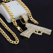 """14k Gold Plated Hip-Hop Big Cz Gun Pistol 30"""" Cuban Chain Necklace"""