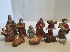 Vintage 11 Pc Nativity Christmas Set Baby Jesus Mary Joseph Wise Men Lot Set