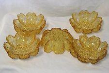5-Hobbs Brockunier Topaz Gold Daisy Button Berry/Dessert Bowls