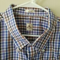Peter Millar Mens Button Down Long Sleeve Shirt Blue Plaid Size 3XL EUC
