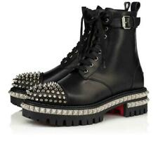 LOUBOUTIN KING ST BLACK LEATHER LACE UP CAP TOE SPIKED BELTED BOOTS 39.5 $1795
