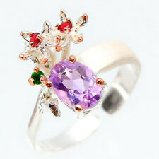 Fashion women Natural Amethyst 925 Sterling Silver Ring Size 8/RVS115