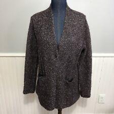 Eileen Fisher Cardigan Sweater Purple Plum Sz L Alpaca Silk Blend Boucle Pocket