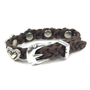 BRIGHTON Vtg Bracelet Brown Leather Silver Plate Concho Hearts Buckle Western