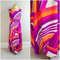 M/L Vintage 1970s Bright Rainbow Abstract Print Maxi Dress Summer Tiki Hawaiian