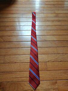 Youth Boy's Nordstrom Red Burgundy White Blue Diagonal Striped Silk Neck Tie