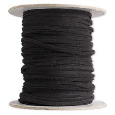 Bracelet Necklace Cord Faux Leather Suede Lace Black Soft Cotton Vegan 30  feet