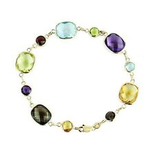 14k Yellow Gold Gemstone Bracelet With Round And Cushion Gemstones 7.5 Inches