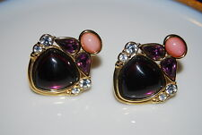 VINTAGE YSL YVES ST LAURENT COUTURE CLIP EARRINGS RHINESTONES SHIELD GOLD TONE