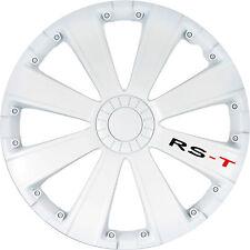 Lot de 4 enjoliveurs de roues 14 pouces RACING blanc pour jante tole acier