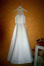 EDDY K. Designer Brautkleid 38 Neckholder Spitze Perlen weiß!