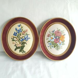 Vintage Set Of 2 Framed Floral Embroidery Tapestry Arts And Crafts Style Ornate