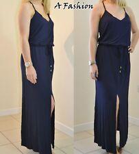 NEW NEXT UK 12 LADIES NAVY SPLIT FRONT MAXI DRESS