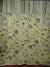 WAVERLY YELLOW & BLUE HYDRANGEA DOTS FLORAL STRIPES (1) SHOWER CURTAIN 68 X 71