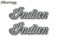 """2 INDIAN SCRIPT Silver/Black Outline 2""""x6.5"""" Decals Motorcycle Gas Tank Stickers"""