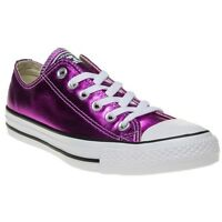 New Womens Converse Pink Metallic All Star Ox Canvas Trainers Lace Up