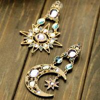 Fashion Crystal Dangle Drop Long Moon Sun Pendant Stud Earrings Women Jewelry