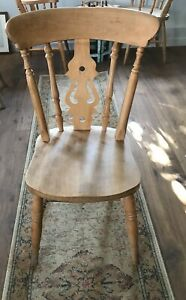 6 x Fiddle back beech dining chairs (shabby chic farmhouse style)