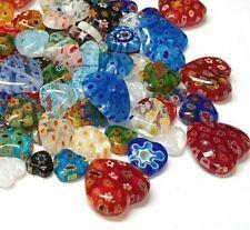 30 Millefiori Perlen Gemischte 8-14mm Herz Glasperlen Bunt Schmuck Basteln R71