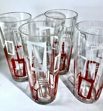 New Listing4 Mid Century Modern Bar Tumbler Glassware Red White Vintage Excellent Condition