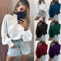 Korean Women's High Neck Office Tops Puff Sleeve Casual Plain Blouse OL Shirts