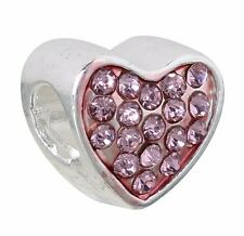 "Charm bead Pink Crystal Heart ""Queen"" large hole Fits European Bracelet C230"