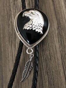 Onyx Gemstone W Eagle Sterling Silver  Leather Bolo Bola Tie