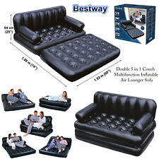 Inflatable Double 5in1 Air Bed Lounger Sofa Couch Mattress Airbed Without Pump