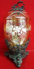 Vase Dose Böhmen Becher Glas Andenkenglas bemalt Zinn Historismus