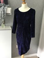 Tu Woman Size 12 Midnight Blue Crushed Velvet Needlecord Dress