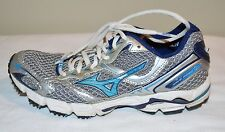 "MIZUNO ""Wave Rider 13"" Silver & Blue Running Shoes Sz 6 Women's GC ~TAKE A PEEK~"