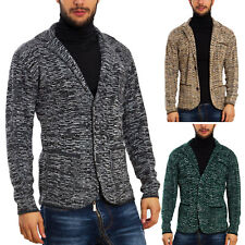 Mens Cardigan Jacket Blazer Melange Toocool Sweater Elegant Winter GM-738