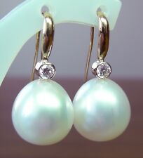 15.9mm!! SOUTH SEA PEARLS UNTREATED +DIAMONDS +18ct SOLID Y GOLD EARRINGS +CERT