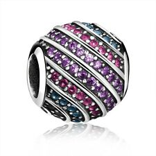 Colorful CZ Round European Bead Silver Charm Fit Diy 925 Sterling Bracelet Chain