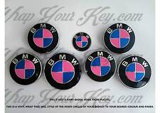 PINK & BLUE CARBON FIBER Badge Overlay FOR BMW HOOD TRUNK RIMS @FITS ALL BMW@
