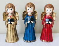 VTG Lot of 3 Christmas Singing Choir Angels by ARDCO Red Gold & Blue Carollers