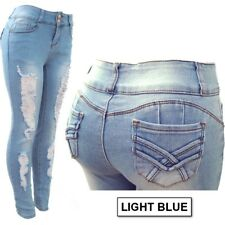 PLUS SIZE!!! Skinny Ripped Stretched Denim Jeans Destroyed Pants