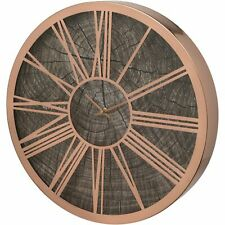 ROSE GOLD WOOD EFFECT 40CM DECORATIVE WALL CLOCK ROMAN NUMERALS HOME DECOR