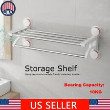 Wall Mounted Towel Rack Suction Cup Rail Holder Storage Shelf Bathroom Stainless