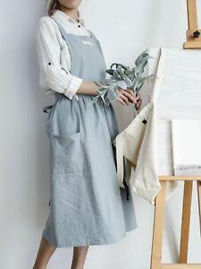 Women Cotton Linen Apron Japanese Wrap Pinafore Cross Back Art Housework Cooking