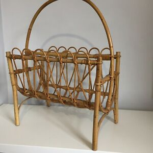 Vintage Retro MCM Wicker rattan cane bamboo Boho magazine rack Storage