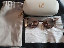 Linda Farrow Luxe Rose Gold Mirror Sunglasses with Patent Mocha Snake RRP £735