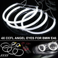 4pcs CCFL LED Angel Eyes Light Rings Set Car Headlight For BMW E46 146mm+131mm