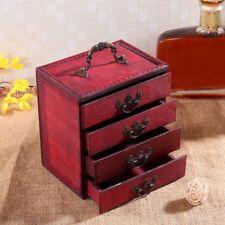 4 Layer Wooden Drawer Jewellery Cabinet Box Storage Chest Stand Organizer Case