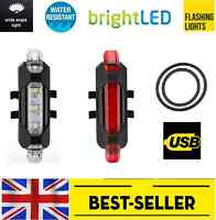Rechargeable Front&rear 5 led light set-small bright lights red white lamp bike